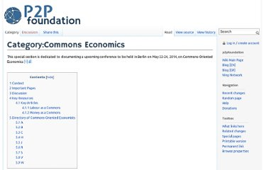 http://p2pfoundation.net/Category:Commons_Economics