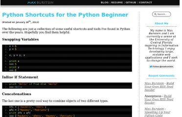 http://maxburstein.com/blog/python-shortcuts-for-the-python-beginner/