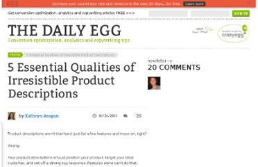 http://blog.crazyegg.com/2013/01/26/5-essential-qualities-of-irresistible-descriptions/