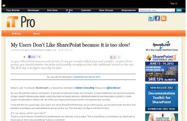 https://www.nothingbutsharepoint.com/sites/itpro/Pages/My-Users-Dont-Like-SharePoint-because-it-is-too-slow.aspx