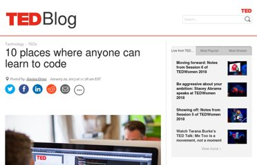 http://blog.ted.com/2013/01/29/10-places-where-anyone-can-learn-to-code/