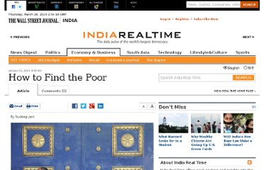 http://blogs.wsj.com/indiarealtime/2013/01/22/how-to-find-the-poor/