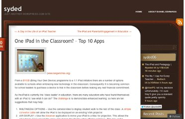 http://dedwards.me/2012/06/30/one-ipad-in-the-classroom-top-10-apps/