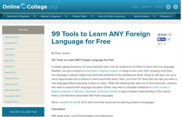 http://www.onlinecollege.org/2009/08/16/101-tools-to-learn-any-foreign-language-for-free/