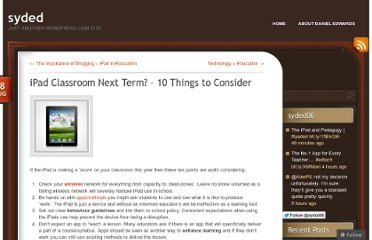 http://dedwards.me/2012/08/08/ipad-classroom-next-term-10-things-to-consider/