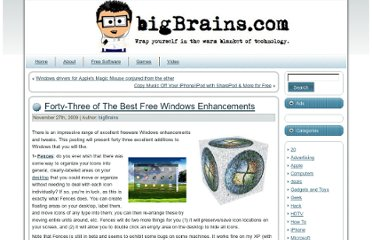 http://bigbrains.com/2009/11/forty-three-of-the-best-free-windows-enhancements/