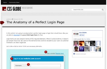 http://cssglobe.com/the-anatomy-of-a-perfect-login-page/