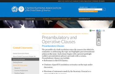 http://www.unausa.org/global-classrooms-model-un/how-to-participate/model-un-preparation/resolutions/preambulatory-and-operative-clauses