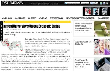 http://www.fastcompany.com/1686634/stanford-universitys-unique-economic-engine