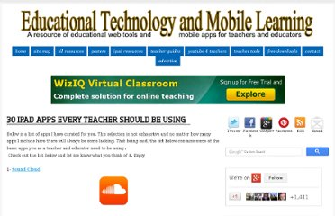 http://www.educatorstechnology.com/2013/01/30-ipad-apps-every-teacher-should-be.html
