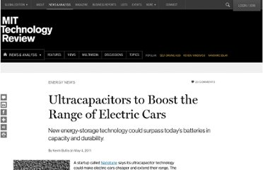 http://www.technologyreview.com/news/423914/ultracapacitors-to-boost-the-range-of-electric-cars/