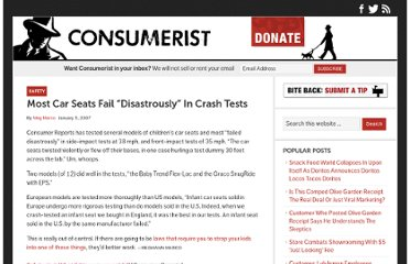 http://consumerist.com/2007/01/05/most-car-seats-fail-disastrously-in-crash-tests/