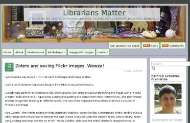 http://www.librariansmatter.com/blog/2009/09/15/zotero-and-saving-flickr-images-wowza/
