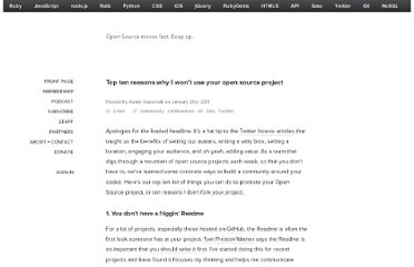 http://thechangelog.com/top-ten-reasons-why-i-wont-use-your-open-source-project/