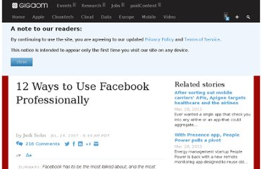 http://gigaom.com/2007/07/24/12-ways-to-use-facebook-professionally/