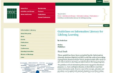 http://www.ifla.org/publications/guidelines-on-information-literacy-for-lifelong-learning