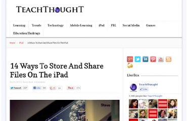 http://www.teachthought.com/technology/14-ways-to-store-and-share-files-on-the-ipad/