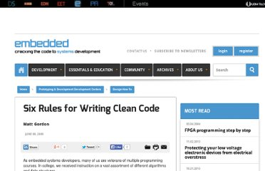 http://www.embedded.com/design/prototyping-and-development/4008302/Six-Rules-for-Writing-Clean-Code