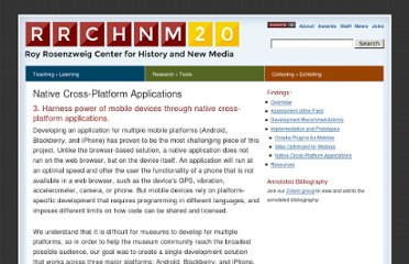 http://chnm.gmu.edu/labs/mobile-for-museums/implementation-and-prototypes/native-cross-platform-applications/