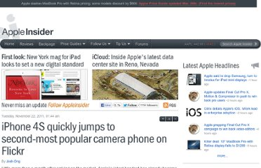 http://appleinsider.com/articles/11/11/22/iphone_4s_quickly_jumps_to_second_most_popular_camera_phone_on_flickr