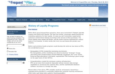 http://www.frequentflier.com/programs/history-of-loyalty-programs/