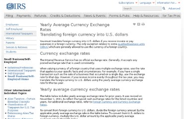 http://www.irs.gov/Individuals/International-Taxpayers/Yearly-Average-Currency-Exchange-Rates