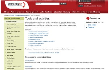http://www.careers.govt.nz/educators-practitioners/tools-and-activities/