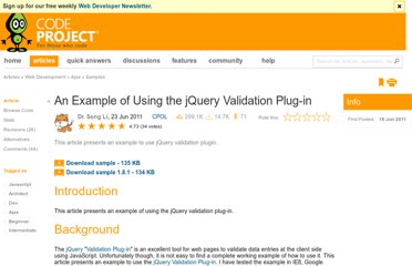 http://www.codeproject.com/Articles/213138/An-Example-to-Use-jQuery-Validation-Plugin