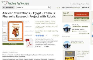 http://www.teacherspayteachers.com/Product/Ancient-Civilizations-Egypt-Famous-Pharaohs-Research-Project-with-Rubric