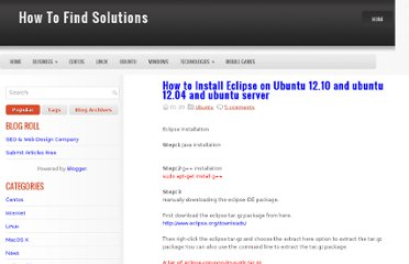 http://howtofindsolution.blogspot.com/2012/11/how-to-install-eclipse-on-ubuntu-1210.html