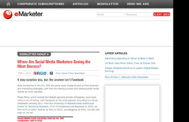 http://www.emarketer.com/Article/Where-Social-Media-Marketers-Seeing-Most-Success/1008211