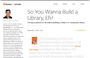 http://boxesandarrows.com/so-you-wanna-build-a-library-eh/