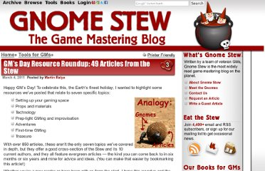 http://www.gnomestew.com/tools-for-gms/gms-day-resource-roundup-49-articles-from-the-stew/