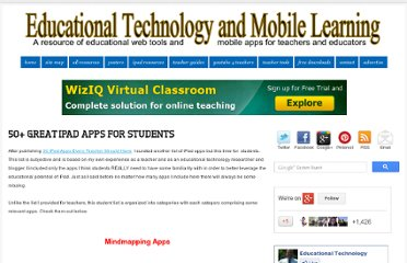 http://www.educatorstechnology.com/2013/02/50-great-ipad-apps-for-students.html
