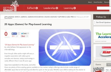 http://gettingsmart.com/cms/blog/2013/02/20-apps-games-for-play-based-learning/