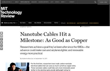 http://www.technologyreview.com/news/425468/nanotube-cables-hit-a-milestone-as-good-as-copper/