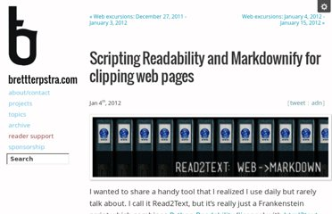 http://brettterpstra.com/2012/01/04/scripting-readability-markdownify-for-clipping-web-pages/