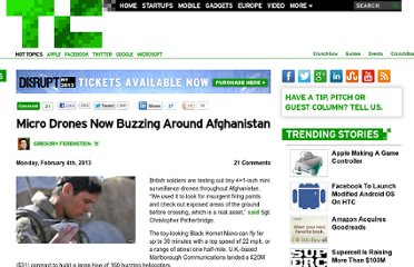 http://techcrunch.com/2013/02/04/micro-drones-now-buzzing-around-afghanistan/