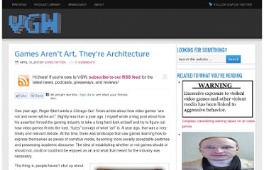 http://videogamewriters.com/games-arent-art-theyre-architecture-7752