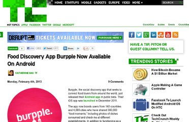 http://techcrunch.com/2013/02/04/food-discovery-app-burpple-now-available-on-android/