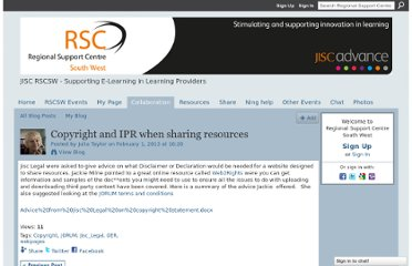 http://jisc-rscsw.ning.com/profiles/blogs/copyright-and-ipr-when-sharing-resources