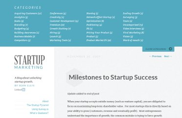 http://www.startup-marketing.com/milestones-to-startup-success/