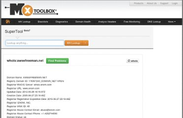 http://www.mxtoolbox.com/SuperTool.aspx?action=whois%3aaweefreeman.net