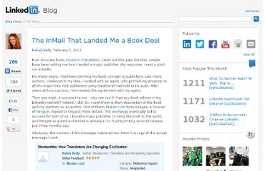 http://blog.linkedin.com/2013/02/05/the-inmail-that-landed-me-a-book-deal/