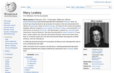 http://en.wikipedia.org/wiki/Mary_Leakey