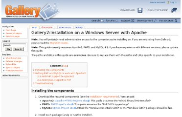 http://codex.galleryproject.org/Gallery2:Installation_on_a_Windows_Server_with_Apache