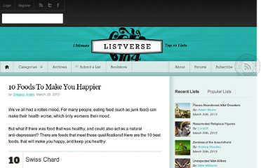 http://listverse.com/2012/03/28/10-foods-to-make-you-happier/