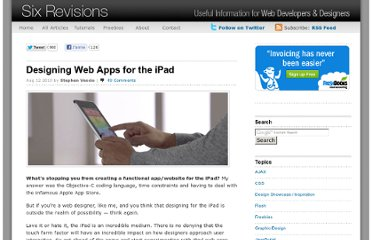 http://sixrevisions.com/web-applications/designing-web-apps-for-the-ipad/