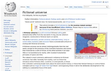 http://en.wikipedia.org/wiki/Fictional_universe#Lists_of_fictional_universes