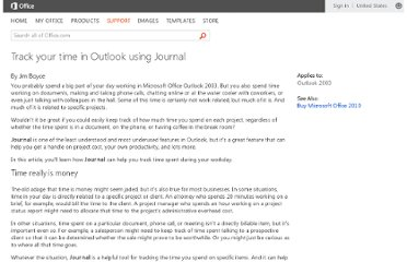 http://office.microsoft.com/en-us/outlook-help/track-your-time-in-outlook-using-journal-HA010034346.aspx